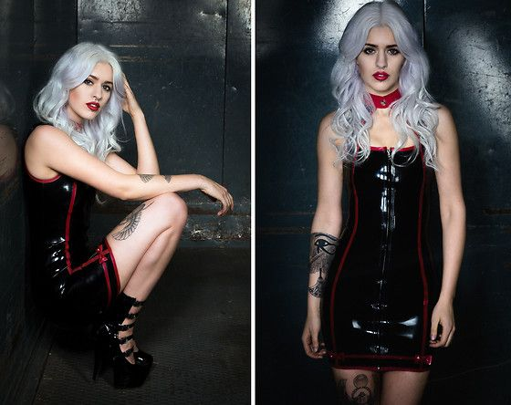Get this look: http://lb.nu/look/8442879  More looks by Tiana Nox: http://lb.nu/tiananox  Items in this look:  Westward Bound Jeopardy Latex Dress, Pleaser Delight 1027 Buckle Plateau Heels   #evil #fetish #gothic #whitehair #silverhair #redlips #tattoos #egypt #latex