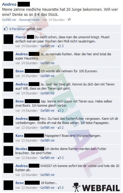 Meine Hausratte hat 20 Junge bekommen - Facebook Fail des Tages 28.06.2012