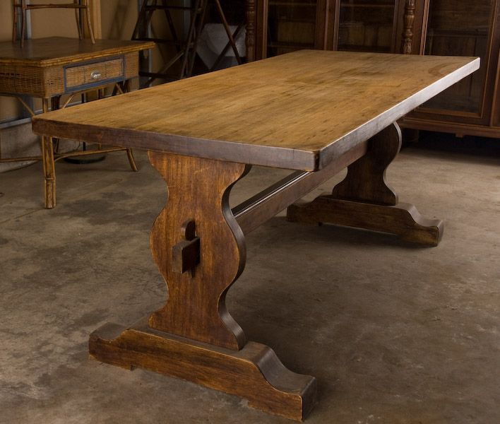 French Monastery Trestle Table This Handsome Trestle Table Is Made Of  Platane Wood (similar To