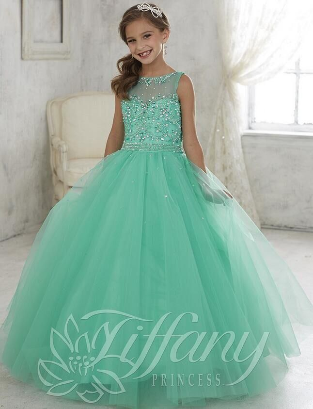 Beautiful Mint Green Ball Gown Girls Pageant Dresses lace up back kids pageant prom gowns 2016 Lovely flower girl dress jewel custom made
