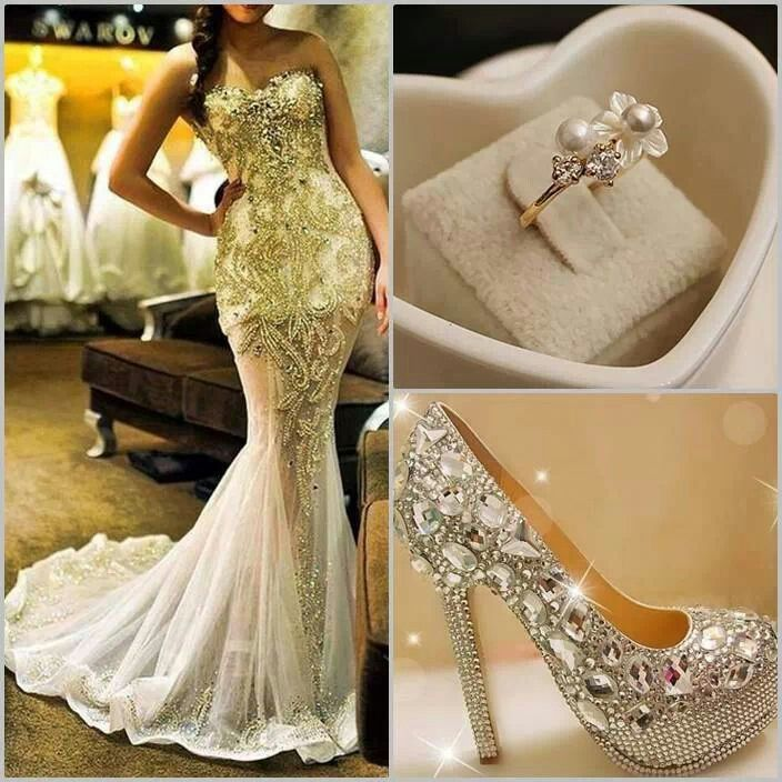 White And Gold Mermaid Wedding Dresses : Yellow gold evening wedding dress pearls bedazzle
