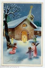 Angeli Bambini Neve Gesù Stella Cometa Presepe Natale Child Angels PC Circa 1930