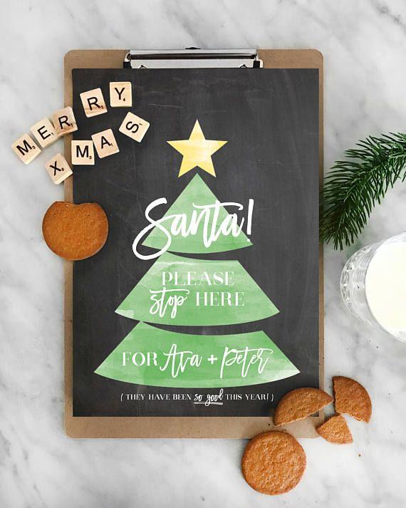 Santa Stop Here Printable & Personalised Sign Santa Sign