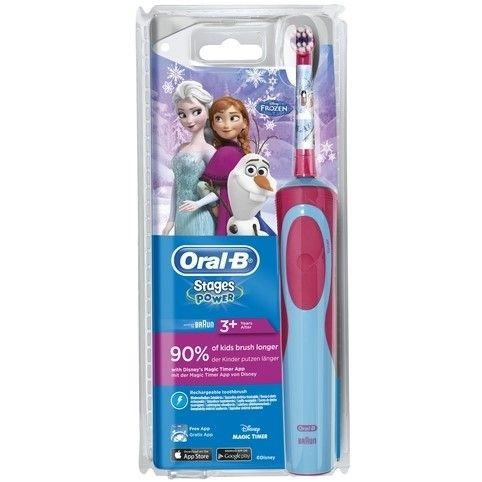 Oral-B Stages Power Kids Disney Frozen Elektrische Tandenborstel  De Oral-B Stages Power Kids elektrische tandenborstel met leuke en vriendelijke Disney Frozen-figuren plaatst de kracht van goed reinigen in kleine handjes. Deze Elektrische Tandenborstel heeft extra zachte borstelharen voor kleine mondjes en is verenigbaar met de Disney MagicTimer App van Oral-B. Download de app zodat uw kinderen leren om 2 minuten te poetsen zoals aanbevolen door tandartsen en om ze de juiste…