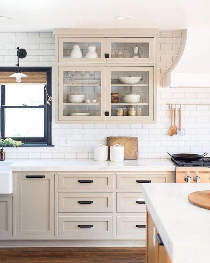 Best Beige Cabinets White Counters And Backsplash Black 400 x 300