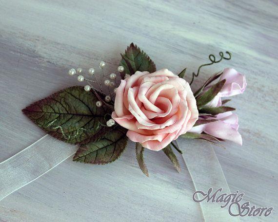Rose flower bracelet bridal bridesmaid baby shower Floral