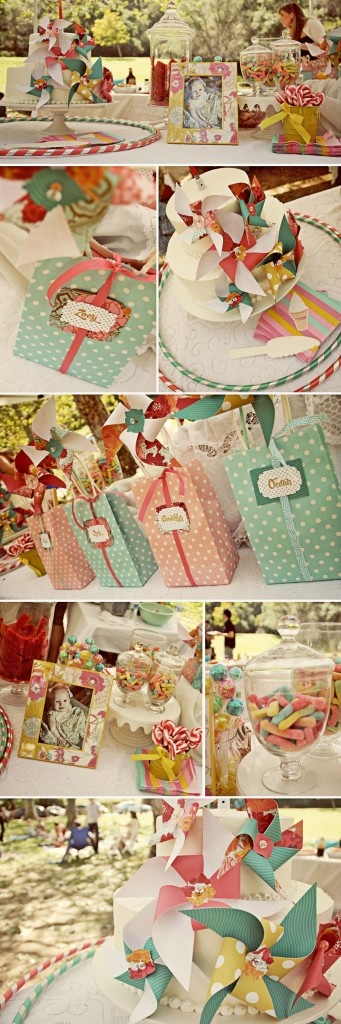 favor bags and pinwheels = i die.  pinwheels are actually pretty simple to make with scrapbooking paper. - Megan