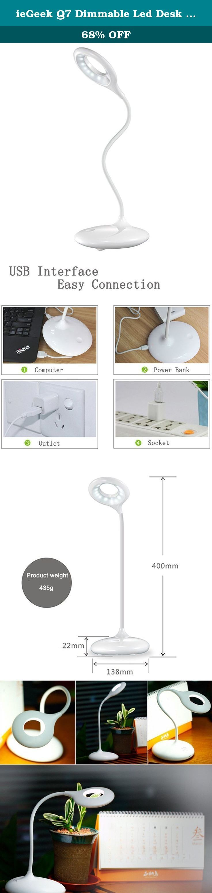 ieGeek Q7 Dimmable Led Desk Lamp - Piano White, Modern Gooseneck Design, Energy Efficient, Stepless Touch-sensitive control, Unlimited Brightness Levels for Working, Reading, Sleeping, Emergency. Parameters: Brand: ieGeek Lamp color: white Light color: warm white Color temperature: 3750-4250K Lumens Max: 210lm Service life: 40000H LED: 18pcs Shell material: ABS+PS Button mode: Stepless Adjustable Brightness by touch Power: 3W Battery capacity: 1200mAh Color rendering index: >80 Input…