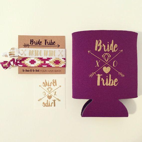 Bride Tribe Bachelorette Favor Gift Set Gold Foil Tattoo Hair Tie Drink Cooler Plum Eggplant Purple Wine Boho Party