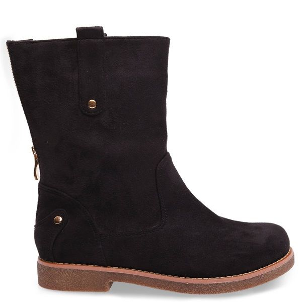 Black suede bootie with round toe, gold metallic elements and crepe sole.