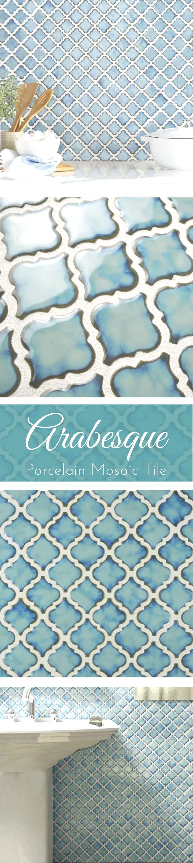 Arabesque Porcelain Mosaic Tile in Teal | Bathroom Tile | Kitchen Backsplash | #affiliate #bathroomdesign #tile #backsplash #flooring #kitchendesign  #mosaic