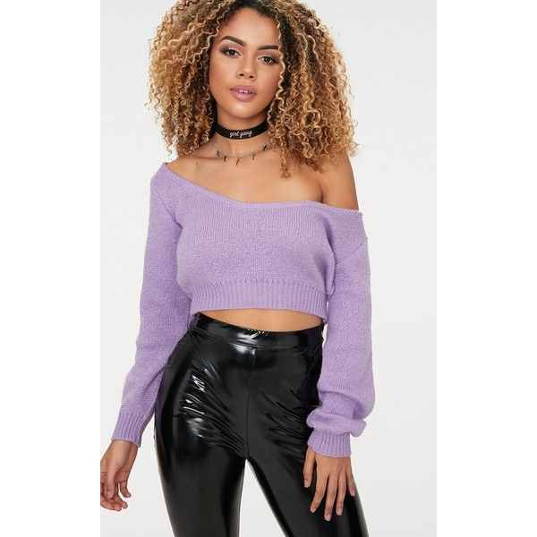 430cf4c72b Lilac V Neck Off Shoulder Knitted Cropped Jumper ($17) ❤ liked on Polyvore  featuring