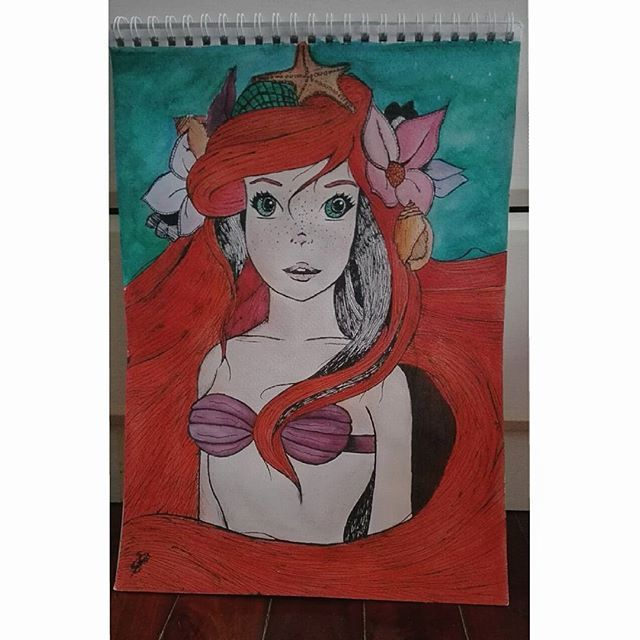 🎨 the little mermaid      #ariel #thelittlemermaid #watercolor #ink #chineseink #disney #fanart #art #color #mermaid #flowers #water #photography #amateurartist #picture #sea #drawing