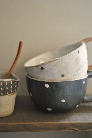 ceramic bowls with polka dots