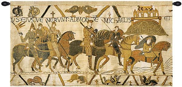 Woven in Belgium History: This Belgian jacquard tapestry, Bayeux Mont St. Michael, is an extract of the queen Mathilde's tapestry. The original some 230 feet lo