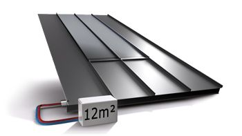 RUUKKI SOLAR THERMAL ROOF - designed for installation on single-family homes to harness thermal energy. At best, the roof can heat almost half of the annual domestic hot water required in a single-family home and also be used for heating.  With Ruukki's system, the heat collector is integrated virtually invisibly into a Ruukki Classic roof without the need to mount separate solar thermal heat collectors.