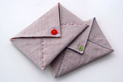 Cool fabric envelopes...for leaving love notes.