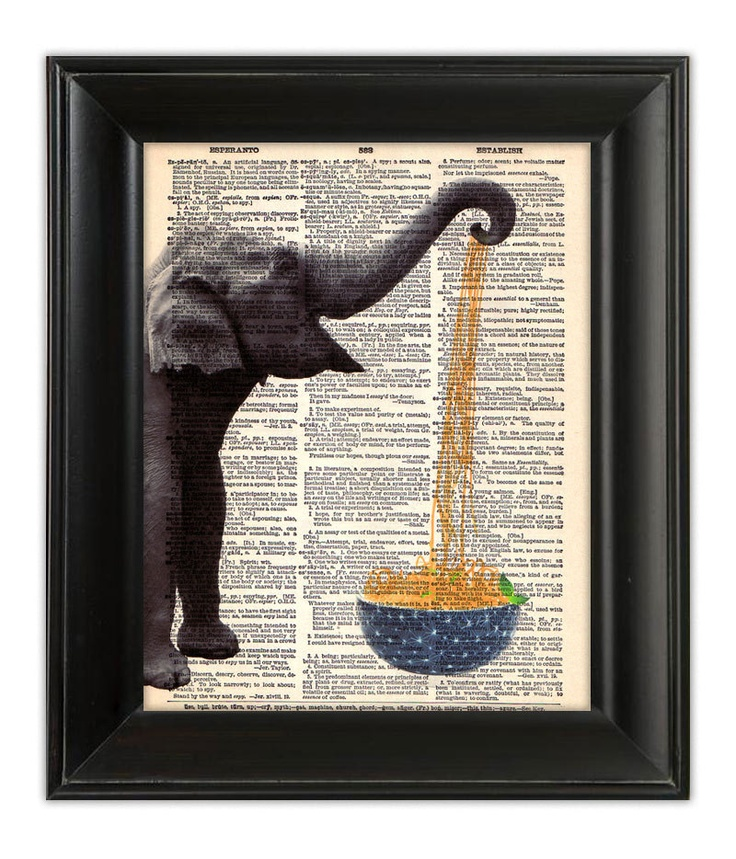 @Kate Morgan  Elephant Eating Noodles.  Mixed Media Painting Illustration on Antique English Dictionary Book Page 8x10. $10.00, via Etsy.