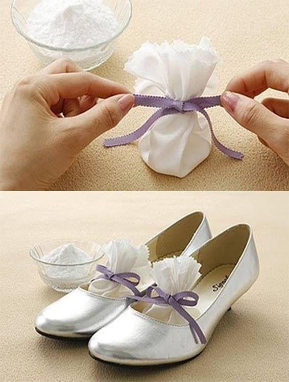 Bicarbonato de sodio en bolsitas de tela para el mál olor de los zapatos