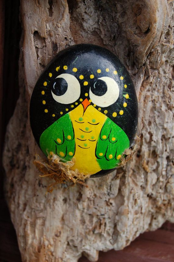 Hand Painted Stone Birds