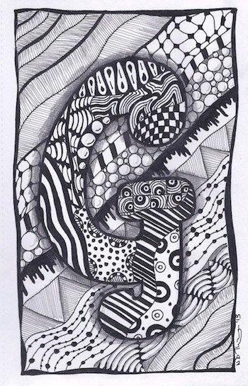 Zentangle+Letter+G+ZebrA+Letters+name+bunting+by+ForeverTangles,+£3.50