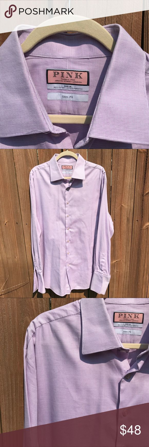 Thomas Pink men's button front shirt Pink by Thomas Pink dress shirt Slim Fit It has a purplish color check photos Very sharp shirt Very good condition 100% cotton 18/46 cm Made in Morrocco slim fit French cuffs Thomas Pink Shirts Casual Button Down Shirts