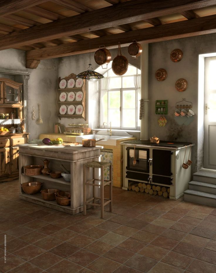Gorgeous Italian Rustic Kitchen With Amazing Decor For Chic Look , Get A  Superb Look By Building Extraordinary Rustic Italian Kitchens In Small  Spaces In ...