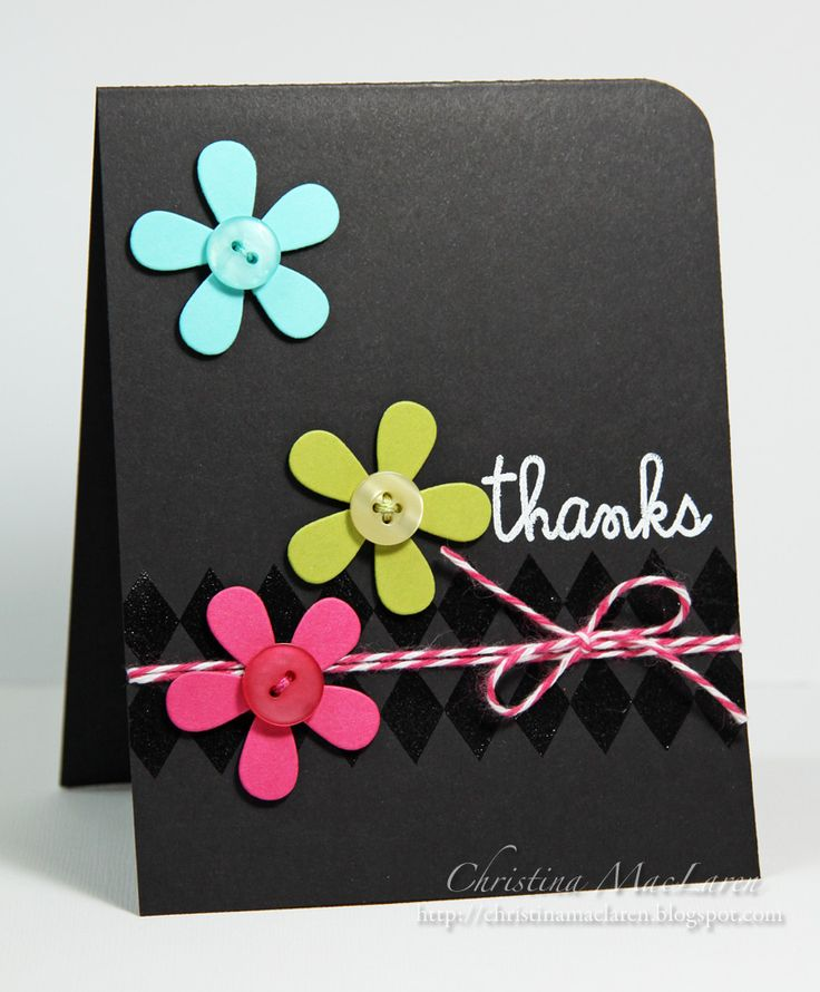 I never think to use black cardstock.Black Backgrounds, Colors Combos, Cards Stockings, Button Flowers, Black Cardstock, Cards Diy, Flower Cards, Sea Glass, Bright Colors