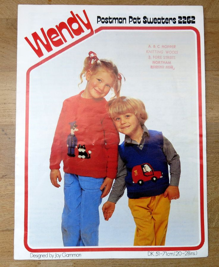 childs knitted jumper - original knitting pattern - postman pat sweater pattern - Wendy pattern - double knitting pattern - uk seller by itsaMessyNest on Etsy