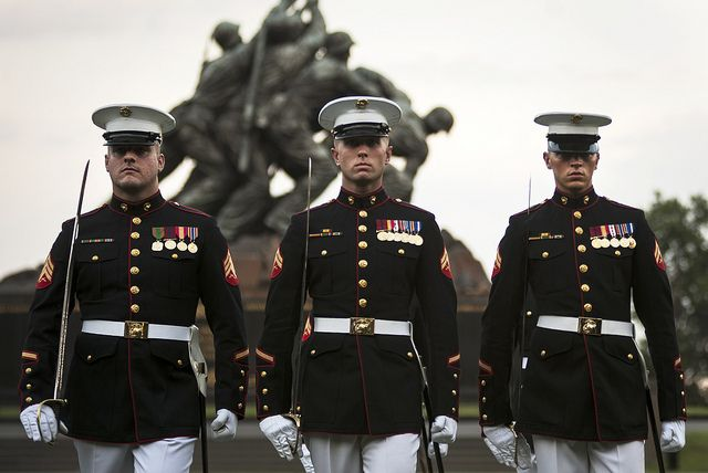 Marines perform during a Sunset Parade at the Marine Corps War Memorial in Arlington, Va. (U.S. Marine Corps photo by Lance Cpl. Dan Hosack/Released)