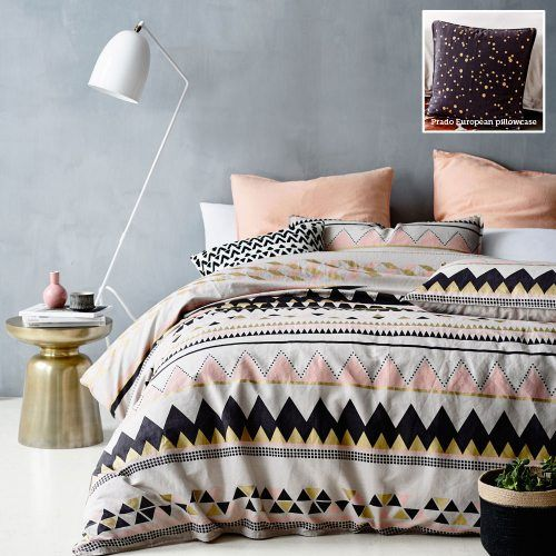 This stunning Aztec inspired design from Home Republic creates the perfect bedroom oasis. Featuring a colour pallet of pink and black hues and gold foil print on cotton linen natural base, coordinate the stunning matching and gold foil printed European pillowcases, to suit your mood and individual style. Picture here with Salmon european pillowcases