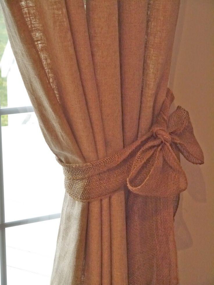 Chateau Chic: burlap curtain tiebacks