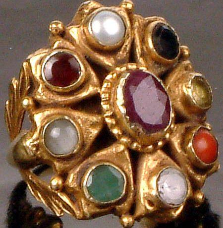 Navaratna Ring in 18kt Yellow Gold, Auspicious Stone Magic, India
