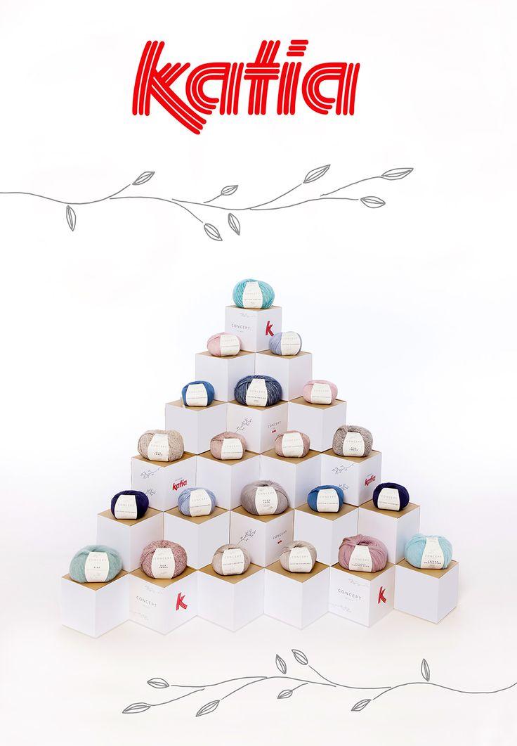 Cajas automontables para la creación de una pirámide como expositor de lanas Katia.