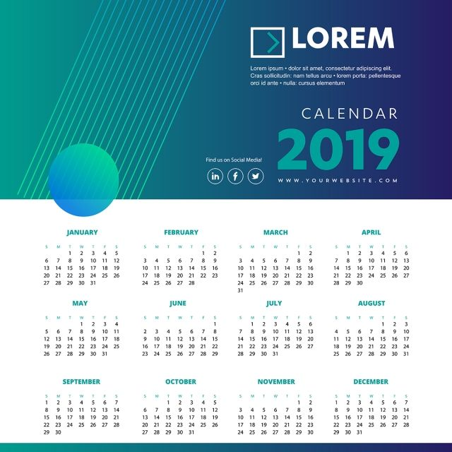 Calendar 2019 Colorful Template Vector Illustration Desk Office Calendar Icons Icons Converter Icons Fitness Png And Vector With Transparent Background For F Calendar Design Appointment Planner Calendar