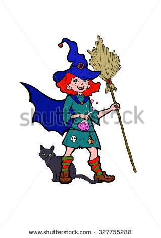 Little witch with a black cat, cartoon vector illustration