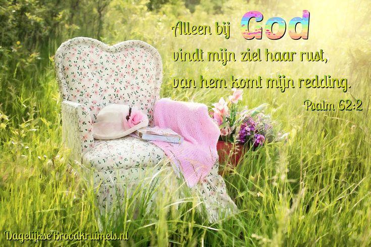 Alleen bij God vindt mijn ziel haar rust, van hem komt mijn redding. Psalm 62:2 #Bemoediging, #Bidden, #Dankbaarheid, #God https://www.dagelijksebroodkruimels.nl/psalm-62-2/