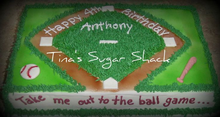 Baseball birthday cake - 1/4 sheet cake iced in buttercream with fondant bases and baseball.  The request was for a baseball themed cake but with no reference to any specific teams.