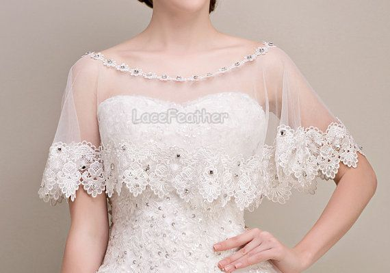 Lace Wedding Cloak Bridal Shawl Wraps Shrug by Lacefeather on Etsy