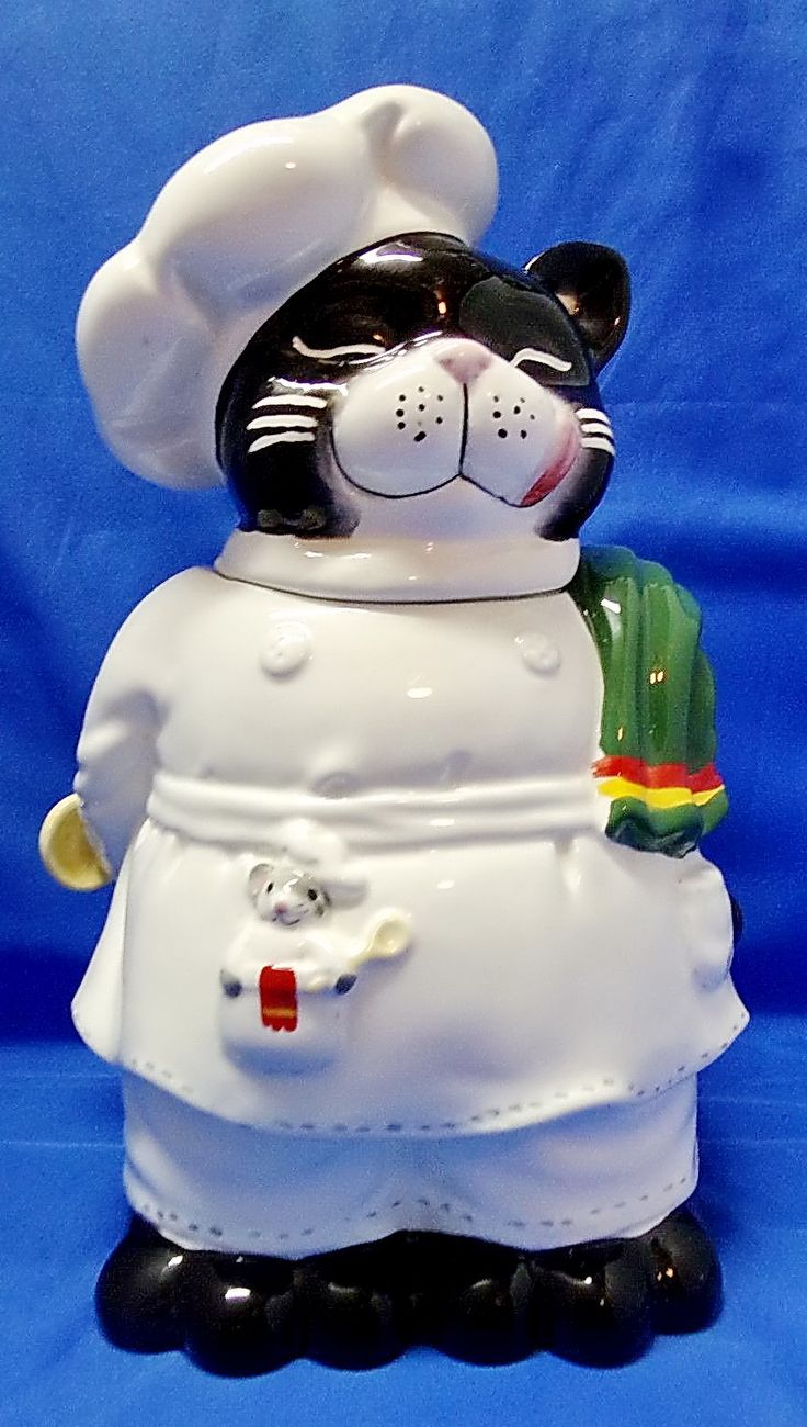 Cat Chef with Mouse in Pocket Cookie Jar