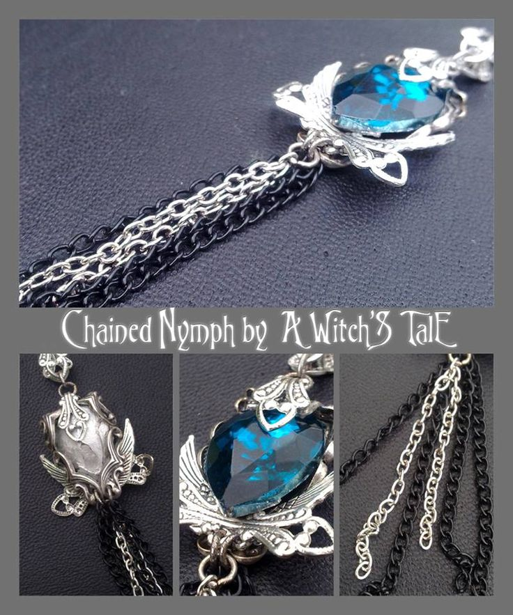"""""""Chained Nymph Pendant"""" by A Witch's Tale Instagram: https://www.instagram.com/awitchstale/ #jewels #chains #chainednymph #nymph #chained #pendant #awitchstale #gemstone #craft #witch #amulet #wings #accessory #silver #crystal #gothic #dark #necklace"""