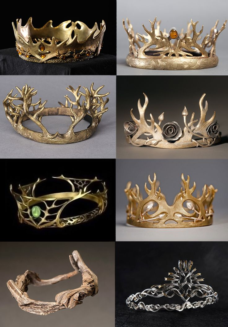 Game of Thrones Crowns: 1. Robert Baratheon 2. Joffrey Baratheon and Tommen Baratheon 3. Renly Baratheon 4. Margaery Tyrell 5. Cersei Lannister 6. Joffrey Baratheon 7. Driftwood Crown Euron Greyjoy 8. Cersei Lannister