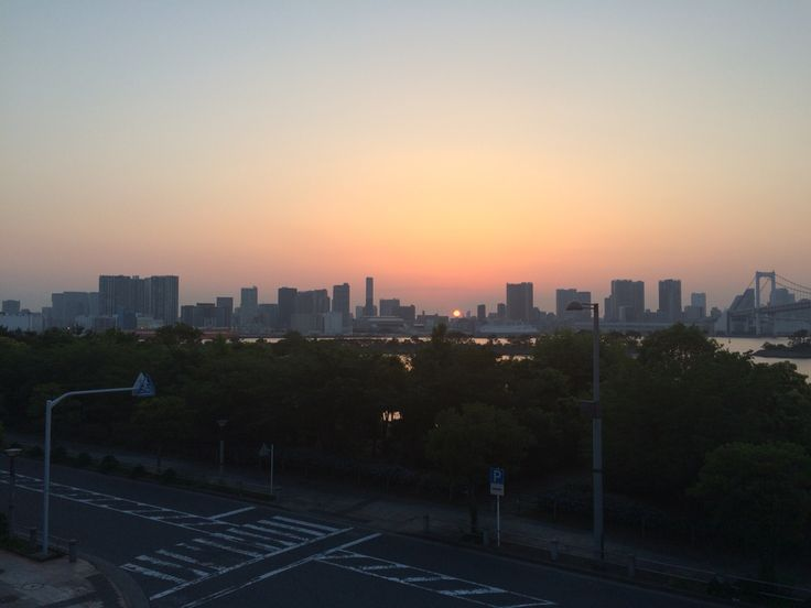 Tokyo bay and skyline, view from Odaiba.