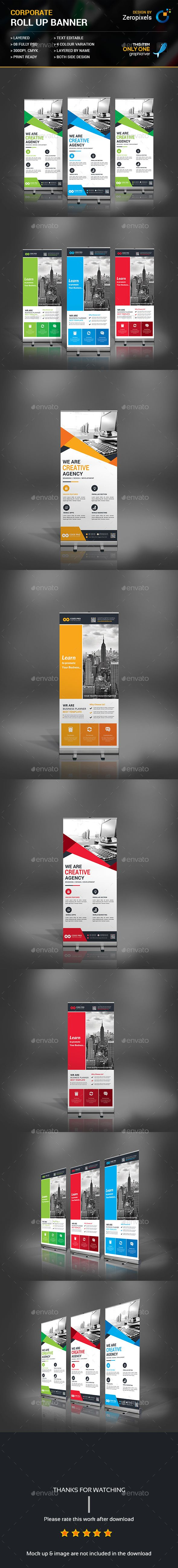 Corporate Rollup Banner Templates PSD Bundle