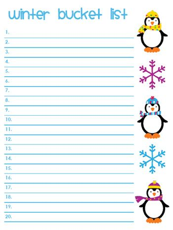 "Printable Winter List. I don't use the term ""Bucket"" but there is a printable here and then a list of some cool ideas! Thanks Homeschool Share!"