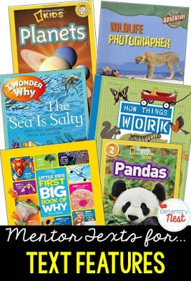 Primary informational mentor text suggested book list for finding the purpose for text features and using these text features to understand the text- RI.1.5, RI.2.5, RI.3.5