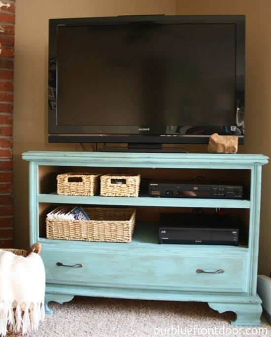 Our Blue Front Door: Garage sale Dresser turned TV stand - Click image to find more diy & crafts Pinterest pins