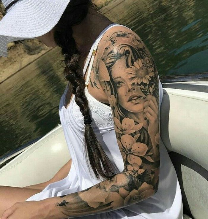 Female Face Flowers Forearm Sleeve Tattoo White Top Black Braided Hair In 2020 Cool Half Sleeve Tattoos Tattoos For Guys Tattoo Sleeve Men