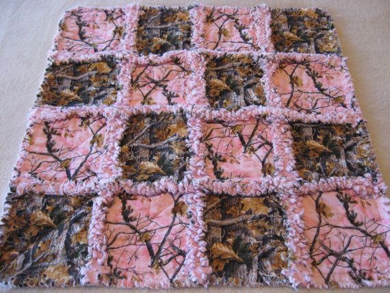 Small Pink and Brown Camoflauge Baby Girl Rag Quilt Blanket