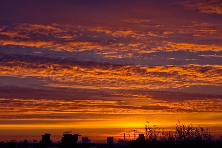 Waves of orange clouds spread out over the West Hampstead sky in December - by Michael Sheehan